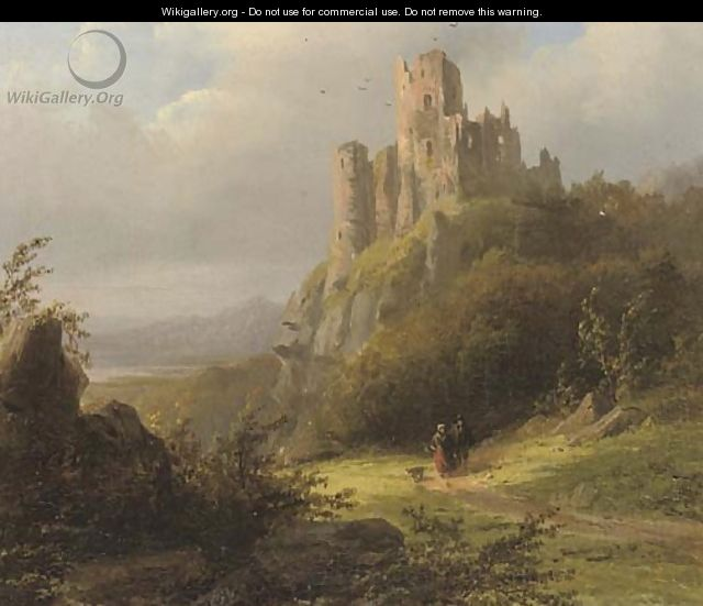 Travellers on a sunlit path by a ruin - Johann Bernard Klombeck