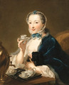 Portrait of the artist's wife, Marie Sophie Robert, half length, with a dog and holding a tea cup - Johann Heinrich The Elder Tischbein