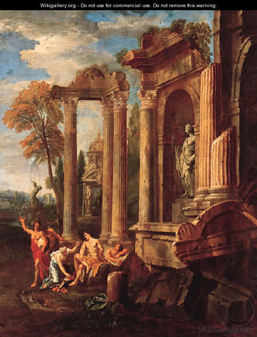 Italianate landscapes with figures amongst classical ruins - Johann Heinrich Schnfeldt