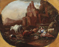 An italianate landscape with a shepherdess resting by a fountain - Johann Heinrich Roos