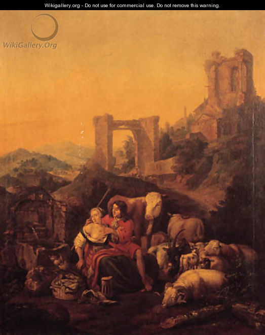 A shepherd couple embracing by a fountain, classical ruins on a hilltop beyond, in an Italianate landscape - Johann Heinrich Roos