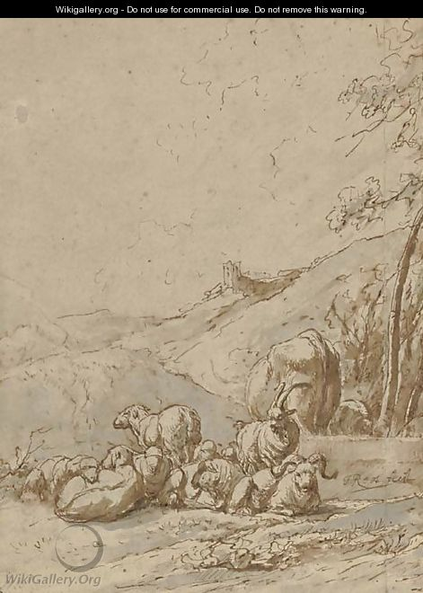 A group of goats resting in a landscape, a castle in the distance - Johann Heinrich Roos