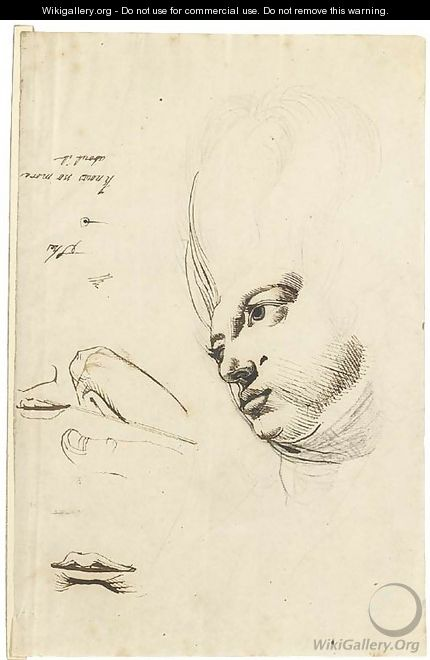 The head of Martha Hess, with studies of fingers and mouths - Johann Henry Fuseli