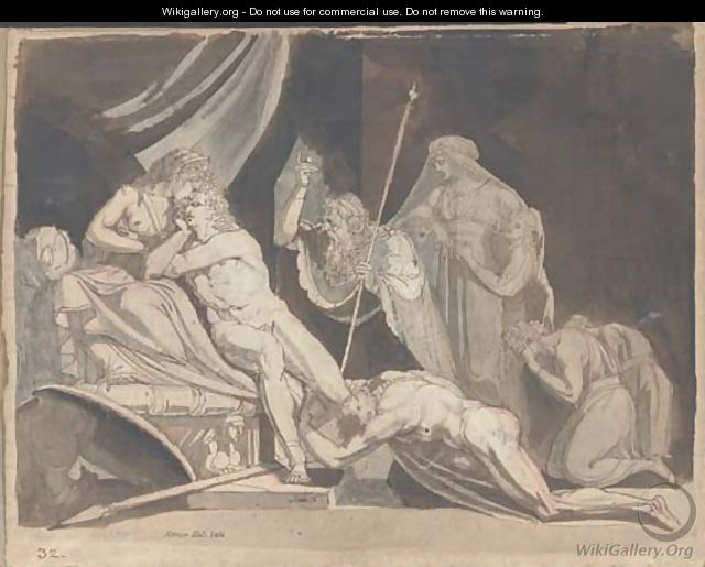 Meleager implored by the Aetolians to defend the City of Calydon (Iliad IX, 574-586) - Johann Henry Fuseli