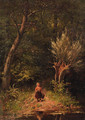 Little girl at a forest moor - Johann Georg Gerstenhauer Zimmerman