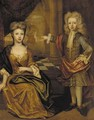 Double portrait of a young boy and girl, the boy, full-length, in a gold-embroidered blue jacket with red wrap - Joris van der Haagen or Hagen