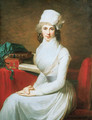 Portrait of Mrs. Henry Pelham, seated three-quarter-length, in a white dress and a white hat, before a table with books - Jean-Laurent Mosnier