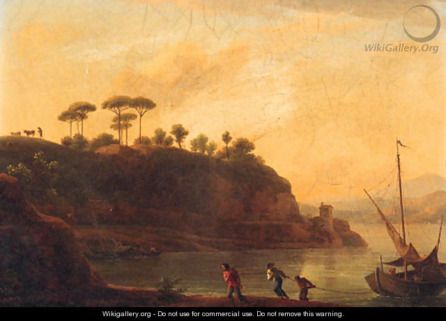 Fishermen towing a boat on the river Tiber at sunset - Jean-Joseph-Xavier Bidauld