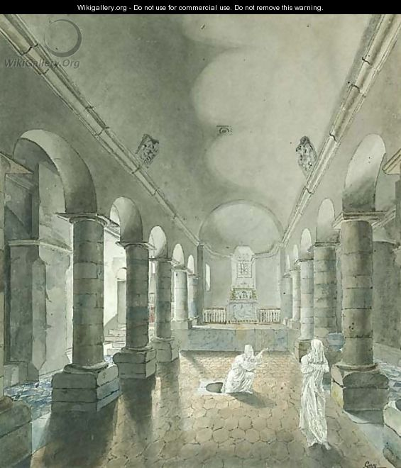 Two Ghosts appearing from a Tomb in the Crypt of a Romanesque Church - Jean-Joseph-Pascal Gay