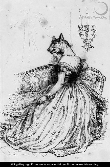 A caricature of an elegant lady with the head of a wolf - (Jean Ignace Isidore Gerard) Grandville