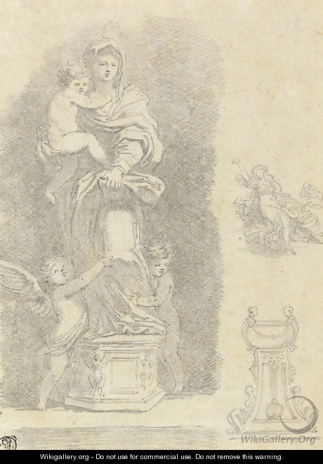 The Madonna and Child with two putti, after Andrea del Sarto, with subsidiary studies of a group of women and a pedestal - Jean-Honore Fragonard