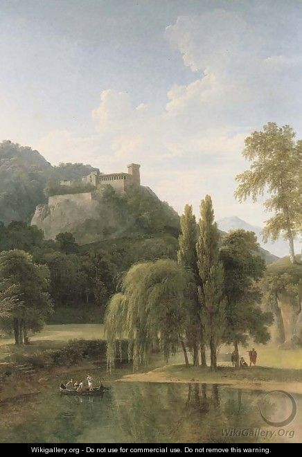 A river landscape with classical figures in a boat, a hilltop castle beyond - Jean-Victor Bertin
