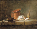 Leeks, a casserole with a cloth, a copper pot and cover, an onion and eggs with a pestle and mortar, on a stone ledge - Jean-Baptiste-Simeon Chardin
