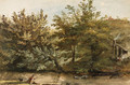 Trees on the Bank of a River, a fisherman in the foreground and a farmhouse in the background - Jean-Pierr Houel