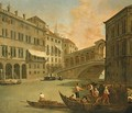 Venice, a view of the Grand Canal with the Rialto Bridge from the North - Johann Richter