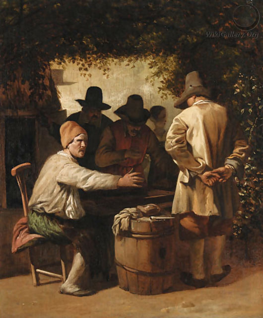Peasants playing backgammon beneath the arbour of a tavern - Job Adriaensz. Berckheyde