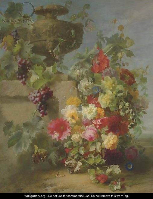 Still Life of Roses, Morning Glories, Chrysanthemums, Forget-me-nots, Grapes and Raspberries by a decorative stone Urn on a Ledge in a Landscape - Jean-Baptiste Robie