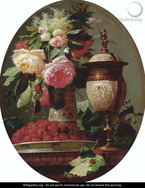 Still Life of Flowers with Raspberries and an Urn on a Table in a painted Oval - Jean-Baptiste Robie