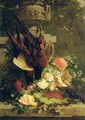 Hanging pheasants with summer flowers on a stone ledge in a garden - Jean-Baptiste Robie
