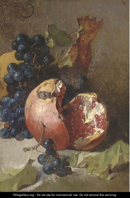 A pomegranate and a bunch of grapes on a ledge - Jean-Baptiste Robie
