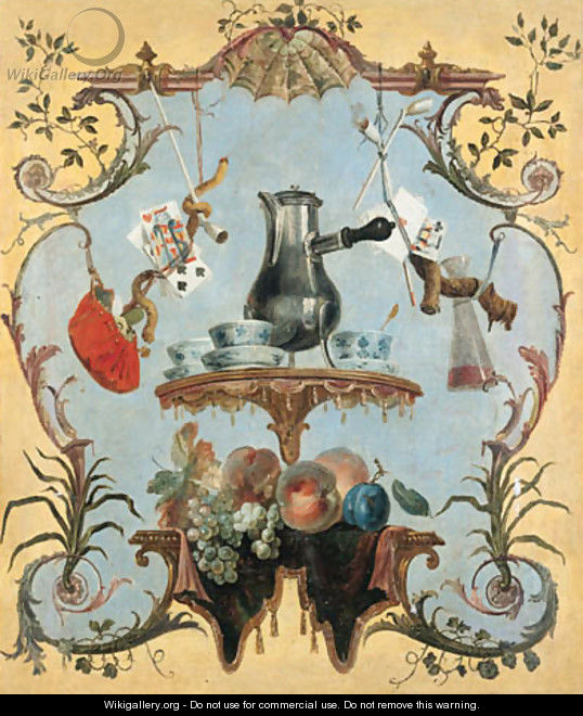 A still life with silver coffee pot - Jean-Baptiste Oudry