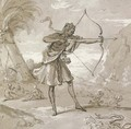 A female archer in a landscape, a snake to the right - Jean-Baptiste Oudry