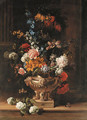 Parrot tulips, chrysanthemum, hydrangea, honeysuckle, borage, paeonies, Crown Imperial fritillaries and other flowers in a sculpted urn on a ledge - Jean-Baptiste Monnoyer