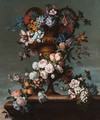 Grapes, peaches, plums, roses, hyacinth, hydrangea and other flowers entwined around a bronze vase - Jean-Baptiste Monnoyer