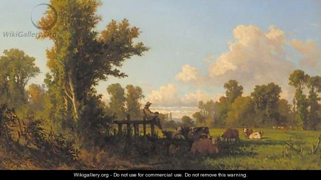 A cowherd watching over his flock in the shade - Jean-Francois Millet
