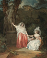 Two elegant young ladies in a garden with a man hiding behind a statue of Apollo - Jean-Baptiste Mallet