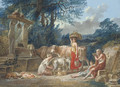 A peasant family and their animals by a well in a classical landscape - Jean-Baptiste Mallet
