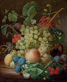Grapes, cherries, peaches, greengages, plums, daisies and a butterfly on a marble ledge - Jan Frans Eliaerts