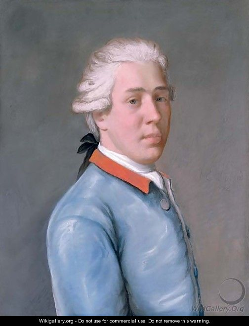 Portrait of a young Englishman, bust-length, in a blue velvet coat and red collar - Etienne Liotard