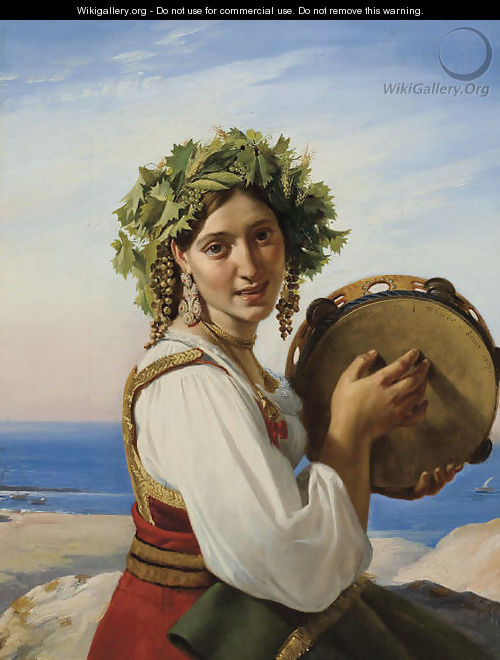 A young woman with a tambourine in Ischia (