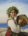 A young woman with a tambourine in Ischia ('Le tambour de basque') - Jean-Claude Bonnefond Lyon