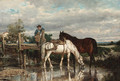 Horses watering at a stream - Jean-Baptiste-Louis Guy