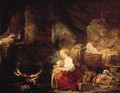 An interior of a barn with a woman and a child by a cauldron, washerwomen nearby - Jean-Honore Fragonard