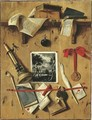 A trompe l'oeil still life of a landscape print, a candle, a medal, a pipe, books and documents affixed to a partition - Jean-Francois de Le Motte