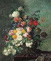 Still life with flowers on a ledge - Jean Benner