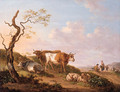 Cows and sheep by a broken tree on the verge of a road, a shepherd family beyond - Jean Baptiste De Roy