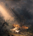A cowherd fording goats and sheep on a track by a farm at night - Jean Baptiste De Roy