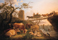 A cowherd and cattle near a waterfall - Jean Baptiste De Roy