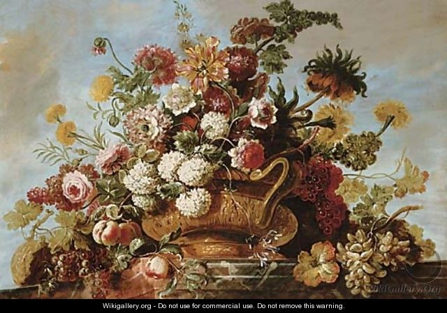 flowers on a ledge flowers in a terracotta vase with fruit on a ledge jean baptiste