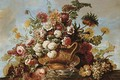 Flowers in a terracotta vase with fruit on a ledge - Jean Baptiste Belin de Fontenay