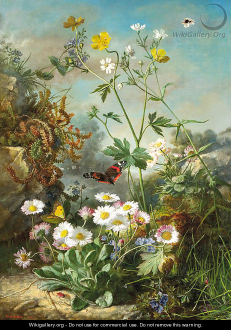 Daisies, buttercups and forget-me-nots on a forest floor, with butterflies - Jean Marie Reignier