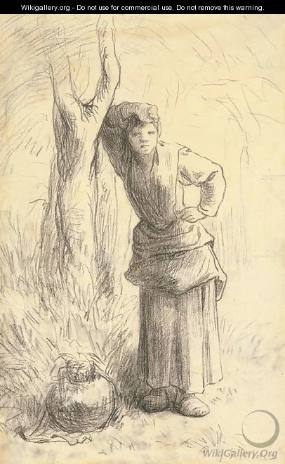 Milkmaid Leaning against a Tree - Jean-Francois Millet