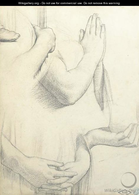 Four studies of hands and one study of a foot Studies for the stained glass windows of the Chapel of Saint Ferdinand, Paris - Jean Auguste Dominique Ingres