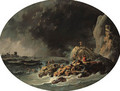 A rocky Coast by the Mouth of the Tagus, with survivors from a shipwreck near a tower - Jean-Baptiste Pillement