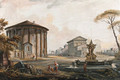A Capriccio with the Temple of Cybel on Piazza della Bocca della Verita, the Barberini Fountain, the Temple of Antoninus and Faustina - Jean-Baptiste Lallemand