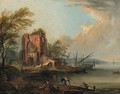 A coastal landscape with fishermen and beached boats by a farmhouse - Jean-Baptiste Lallemand